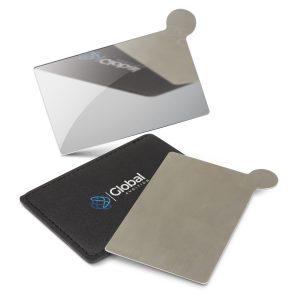 The Trends Collection Vanity Card Mirror is a pocket size polished stainless steel mirror in its own PU carry sleeve.  Great branded promo mirrors.