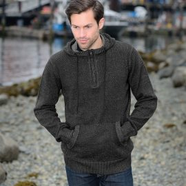 The Stormtech Loden Long Sleeve Hoody is a 1/4 zip, premium melange yarn hoody featuring a high collar with chin saver, kanga pocket, rib cuffs and side panels.