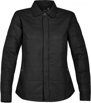 The Stormtech Womens Brooklyn Quilted Jacket is cool-weather casual. Thermal fill panels, custom snap buttons, horizontal quilting & an internal zip pocket.
