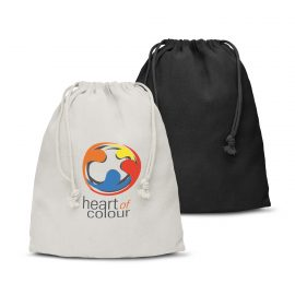 The Trends Collection Cotton Gift Bag Medium is a drawstring gift bag from 120gsm cotton.  In White or Black.  Great branded drawstring.  Great eco gift bags.