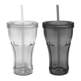 The Trends Collection Carnival Tumbler is a contoured translucent tumbler.  Has a screw on lid with drinking straw.  2 colours.  Great reusable tumblers.