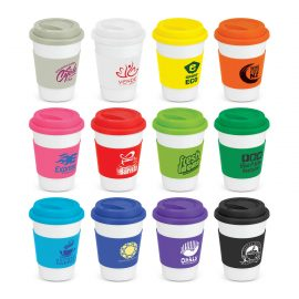 The Trends Collection Aztec Coffee Mug is a 350ml ceramic coffee mug with silicone band and push on lid.  White mug with 12 colour options for the band.