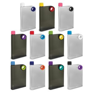 The Trends Collection Accent Drink Bottle is a 400ml water bottle shaped like a notebook. Lid and Ring colours mix n match. Great branded drink bottles.