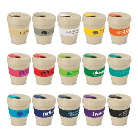 The Trends Collection Express Cup Natura is a reusable 350ml rice husk coffee cup with heat resistant band.  Screw on lid.  Great branded coffee drinkware promo product.