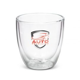 The Trends Collection Tivoli Double Wall Glass is a 310ml double wall glass.  Hot stays hot.  Cold stays cold.  Great double wall branded drink glasses.