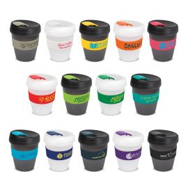 The Trends Collection Express Cup Deluxe Frosted is a reusable 350ml coffee cup with heat resistant band.  Screw on lid.  Great branded coffee drinkware promo product.