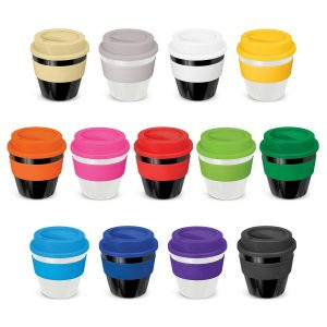 The Trends Collection Express Cup Classic is a 230ml reusable coffee cup with a secure screw on lid with silicone band.  Lid and Band mix n match.  Branded coffee cups.