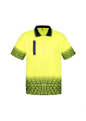 The Syzmik Mens Tracks Polo is a breathable, quick dry, hi viz polo with zip pocket.  4 colours.  XS - 7XL.  Great practical hi vis workwear from Syzmik.
