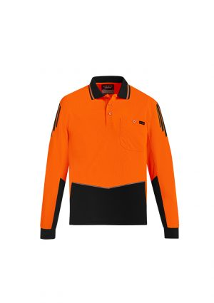 The Syzmik Flux Long Sleeve Polo is a 175gsm polyester with stretch mesh panels. XXS-7XL. 6 colours. Great branded long sleeve hi vis polos.