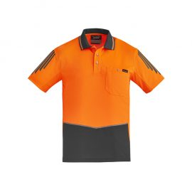 The Syzmik Flux Short Sleeve Polo is a 175gsm polyester with stretch mesh panels.  XXS-7XL.  6 colours.  Great branded short sleeve hi vis polos.