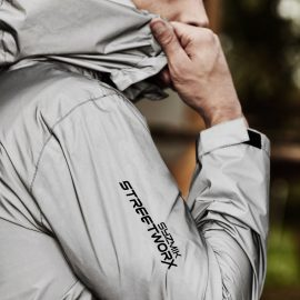 The Syzmik Reflective Waterproof Streetworx Jacket is made from fully reflective material.  Increases safety at night.  In Silver.  Great hi viz jackets from Syzmik