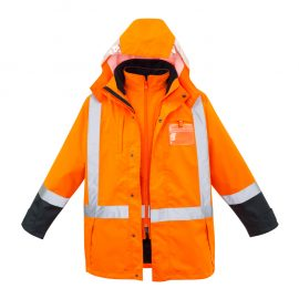 The Syzmik Mens TTMC-W 4 in 1 Waterproof Jacket is a polyester jacket.  Features brushed polar fleece vest lining, reversible vest.  Orange/Navy.