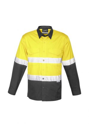 Syzmik Mens Rugged Cooling Taped Hi Vis Spliced Shirt is a square weave cotton riptop shirt.  Mesh venting & mechnical stretch. Reflective tape, 4 colours