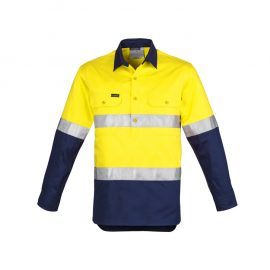 The Syzmik Mens Hi Vis Closed Front Long Sleeve Shirt Hoop Taped is a 170gsm cotton twill  shirt.  2 colours.  Great branded hi viz workwear.