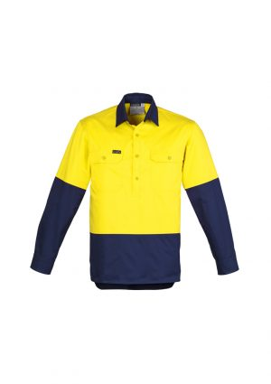 The Syzmik Mens Hi Vis Closed Front Long Sleeve Shirt is a 170gsm cotton twill shirt. Mesh vents & 2 chest pockets. Half buttoned. Great hi vis work shirts.