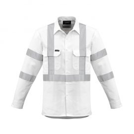 The Syzmik Mens Bio Motion X Back Taped Shirt is a 100% cotton drill white shirt with bio motion tape.  2 chest pockets.  Great branded Syzmik workwear.