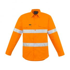 The Syzmik Mens Hi Vis Hoop Taped Shirt is a 100% cotton twill hoop taped shirt in Orange.  XXS - 7XL.  2 pockets.  Mesh vents.  Great branded Syzmik workwear.