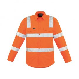 The Syzmik Mens Bio Motion Vic Rail Shirt is a 150gsm lightweight cotton twill shirt.  In Orange.  Bio motion taping on arm.  Chest pockets and mesh vents.