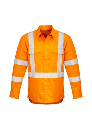 The Syzmik Mens Hi Vis X Back Taped Shirt is made from 100% cotton twill in Orange. Mesh vent inserts. XXS - 7XL Great hi vis branded workwear from Syzmik.