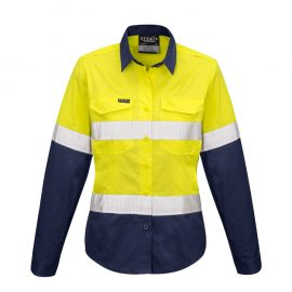 The Syzmik Womens Rugged Cooling Taped Hi Vis Spliced Shirt is a square weave cotton ripstop shirt.  2 colours.  8 - 24.  Great hi vis womens workwear.