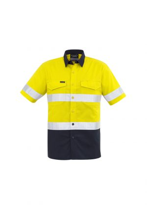 The Syzmik Mens Rugged Cooling Taped Hi Vis Spliced Shirt is a square weave cotton riptop shirt.  Mesh venting and mechnical stretch.  Reflective tape.  4 colours.