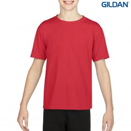 The Gildan Performance Youth T-Shirt is a 100% Polyester driwear tee. XS-XL. 7 colours. Great performance tees from Gildan. Ladies and Mens styles available.