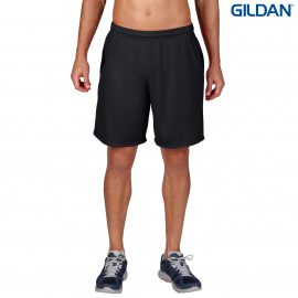 The Gildan Performance Adult Short is a 50% cotton, 50% polyester short.  S - 3XL.  Black or Charcoal.  Great adult performance shorts from Gildan.