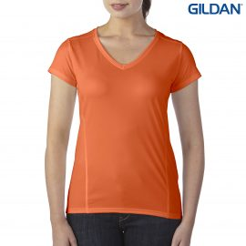 The Gildan Performance Ladies V-Neck Tech T-Shirt is a semi fitted, polyester ladies tee. XS - 3XL. 7 colours. Great branded performance tees from Gildan.