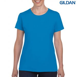 The Gildan Heavy Cotton Ladies T Shirt is a 180gsm cotton tee. Mens and kids available too. 20 colours. S - 3XL. Great branded heavy cotton tees from Gildan.