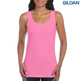 The Gildan Softstyle Ladies Tank Top is a cotton fitted ladies singlet.  5 colours.  S - 2XL.  Great branded ladies cotton singlets from Gildan.