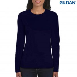 The Gildan Ladies Long Sleeve T Shirt is a 100% cotton fitted long sleeve ladies tee.  4 colours.  S - 3XL.  Great branded long sleeve tees from Gildan.
