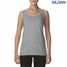 The Gildan Softstyle Ladies Racerback Tank is a semi fitted cotton racer back singlet.  4 colours.  S - 3XL.  Great branded ladies singlets from Gildan.