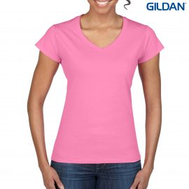 The Gildan Softstyle Ladies V-Neck T Shirt is a 150gm cotton jersey knit tee.  5 colours.  Fitted.  S - 3XL.  Great cotton tees from Gildan.