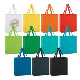 The Trends Collection Carnaby Cotton Tote Bag is an environmentally friendly supermarket bag.  11 colours.  Branded retail bags with company logo.