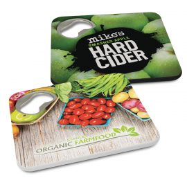 The Trends Collection Coaster Bottle Opener is a handy plastic coaster with built in bottle opener.  White or Black.  Great branded practical coasters.
