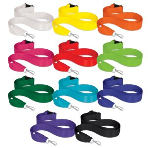 The Trends Collection Ribbon Lanyard is a 20mm wide ribbon lanyard with metal ring, clip and safety clip. 11 colours. Great branded lanyards.