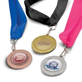 The Trends Collection Podium Medal is a 50mm diameter medal in 3 colours.  Lanyard in 11 colours.  Great branded medals for your events.