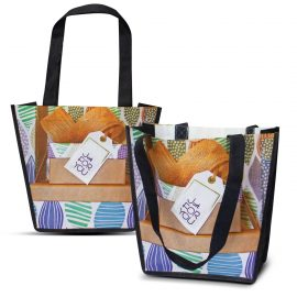 The Trends Collection Trent Gift Tote Bag is a small angled tote bag made from 80gsm PET.  Full colour branding.  Great sublimation printed tote bags.