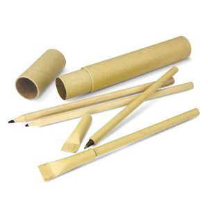 The Trends Collection Eco Pen and Pencil Set is a handy set in a natural unbleached cardboard tube.  Contains 2 x pens and 2 x pencils.  Great eco set.