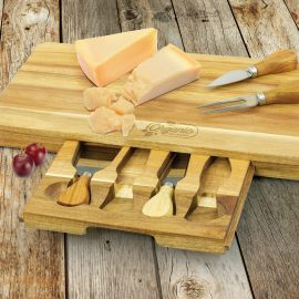 The Trends Collection Montgomery Cheese Board is a luxury acacia cheese board with drawer.  3 cheese knives and fork.  Laser Engraved.  Great corporate gifts.