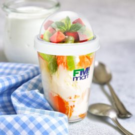 The Trends Collection Yogo Cup is a White/Clear cup ideal for on the go brekkie or lunch meals.  Great options for busy people.  Practical promotional products.