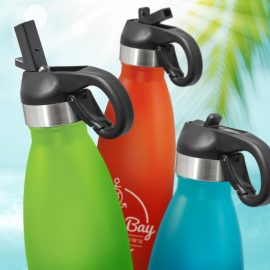 The Trends Collection Mirage Powder Coated Vacuum Bottle Flip Lid is a premium quality 500ml vacuum stainless steel bottle. 13 colours. Great drink bottles.