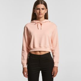 The AS Colour Womens Crop Hood is a relaxed fit, cropped length heavyweight hoodie.  Pale Pink and Black.  XS - XL. Great branded crop AS Colour hoodies.
