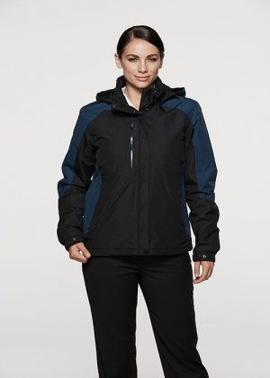 The Aussie Pacific Ladies Napier Jacket is a polyester microfibre ripstop jacket with padded inner.  6 pockets.  3 colours.  8 - 22.  Great branded AP jackets.