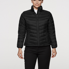 The Aussie Pacific Ladies Buller Puffer Jacket has a polyester satin finish outer, with inner taffeta lining.  2 colours.  8 -  22.  Great branded winter jackets.