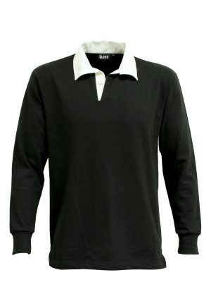 The Cloke Classic Rugby Jersey are proper rugby shirts. 330gsm rugby jersey fabric. Black or Navy. XXS - 3XL. Great branded old school rugby shirts.