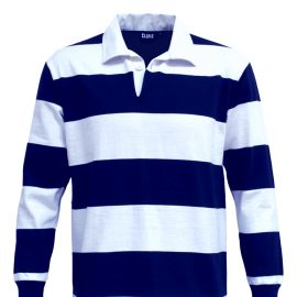 The Cloke Striped Rugby Jersey are proper rugby shirts.  330gsm rugby jersey fabric.  Navy/White.  XXS - 3XL.  Great branded old school rugby shirts.
