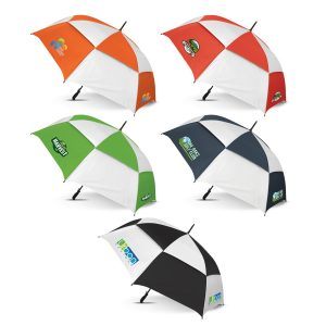 The Trends Collection Trident Sports Umbrella is an auto open 76cm, 8 panel sports umbrella. 5 colours. Great branded promotional umbrella products.