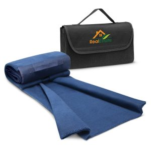 The Trends Collection Yukon Fleece Blanket is a super warm, soft fleecy. blanket. Easy to roll up. Black or Navy. Great branded fleece blankets.