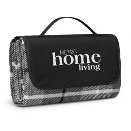 The Trends Collection Denver Picnic Blanket is a smart Black/Grey picnic blanket.  Velcro closure.  3 branding options.  Great branded picnic blankets for summer.